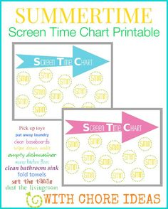 Printable Screen Time chart for kids, plus a printable list of chores they can do to earn their screen time. This is perfect for regulating the amount of TV and computer time your child has this Summer.