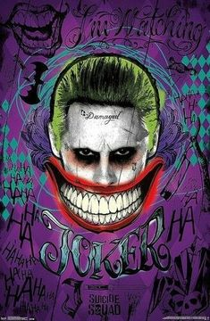 Poster from DC Comics Suicide Squad featuring Jared Leto as The Joker in all his damaged glory. Leto Joker, Joker Poster, Lil Wayne, Character Drawing, Comic Character, Art Du Joker, Héros Dc Comics, Marvel Dc, Joker Kunst