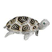 Diamond Turtle Pin 18k WG & Enamel | Sea Life | Pins & Brooches | Jewelry | ScullyandScully.com