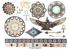 Cleopatra Egyptian Metallic Temporary Tattoo Gold by KARIZMAlondon