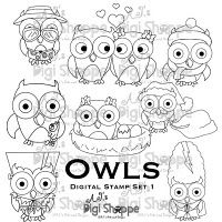 $25.00 Owls Digital Stamp Set 1 from A.J.'s Digi Shoppe™