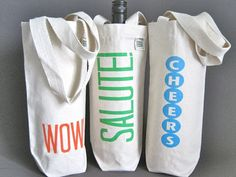 recycled cotton canvas wine bags.  these would make really cute gifts!