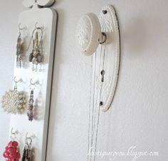 antique door knob as necklace display