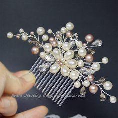 Ivory Pearls Rhinestone Floral Vine Silver Bridal Hair Comb - Brides Bridesmaids Wedding Hair Accessory. $68.00, via Etsy.