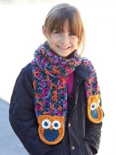 Free pattern - Kids will love bundling up with this whimsical #crochet scarf featuring on-trend #owl details.