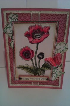 Mother's Day card I made. I coloured this with Spectrum Noir markers, Poppy stamp from Local Rubber king and CTHM paper.