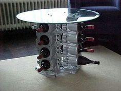 Mesa botellero usando bloque motor V8
