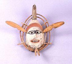 OBJECT # 1.2E652  OBJECT NAME Mask  CULTURE OF ORIGIN Yup'ik, Kuskokwim Area  MATERIALS Wood, Paint, White, Black, Ochre  DIMENSIONS L: 31.5 cm, W: 21.0 cm  SOURCE Mr. Bob Gierke  CREDIT Gift of Robert Gierke