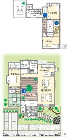 敷地面積:  204.04㎡  建延面積:  約116.07㎡  ※建延面積には、ガレージ・バルコニー・ふれあいコート・子どもBOX(ロフト)は含まれておりません。富士住建 House Blueprints, Japanese House, My Dream Home, My House, House Plans, Floor Plans, House Design, Flooring, How To Plan