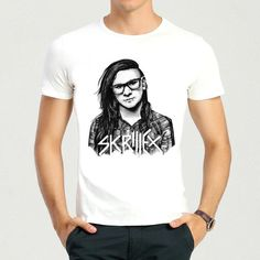 b7930b3c8e Skrillex T-Shirt Summer Short Sleeve Teenages White Skrillex Logo Top Tees  Shirt For Men Women