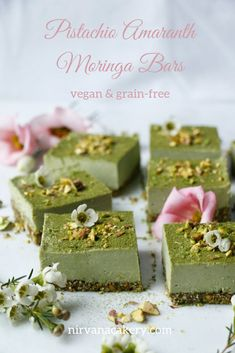 Raw vegan grain-free high protein superfood dessert bars that taste absolutely divine. Raw vegan grain-free high protein superfood dessert bars that taste absolutely divine. Raw Desserts, Healthy Dessert Recipes, Healthy Baking, Raw Food Recipes, Brunch Recipes, Vegan Recepies, Herb Recipes, Healthier Desserts, Amaranth Recipes
