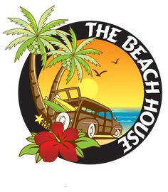 This logo was created by D&L Graphic Design for the Beach House bar and restaurant in Long Beach, NY. Deco Surf, Beach Logo, Logo Design, Graphic Design, Mural Wall Art, Travel Logo, Surfs Up, Pin Up Art, Beach Art