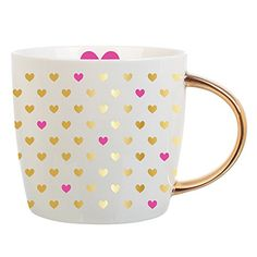 Slant Collections Mug Gold Hearts: Metallic hearts add playful detail to this ceramic Slant Collections coffee mug. Coffee Heart, I Love Coffee, Coffee Snobs, Coffee Cups, Coffee Coffee, Mud Pie Gifts, Pretty Mugs, Hand Painted Wine Glasses, Christmas Wishes