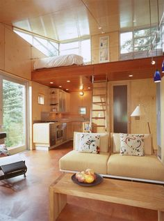 The cabin is extremely compact, only 352 sq. ft., however inside there's enough space for an open plan living room with a small kitchen, bathroom, and storage space. A ladder leads up to a sleeping loft above the open living space below.