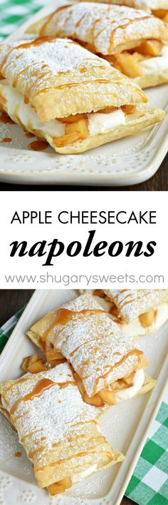Caramel Apple Cheesecake Napoleons: a delicious, quick comfort food dessert… Dessert Simple, Apple Cheesecake, Cheesecake Recipes, Apple Recipes, Sweet Recipes, Pastry Recipes, Cooking Recipes, Easy Desserts, Dessert Recipes