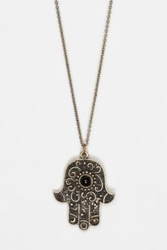 Hamsa - Depicting the open right hand, an image recognized and used as a sign of protection in many societies throughout history, the hamsa provides superstitious defense against the evil eye.