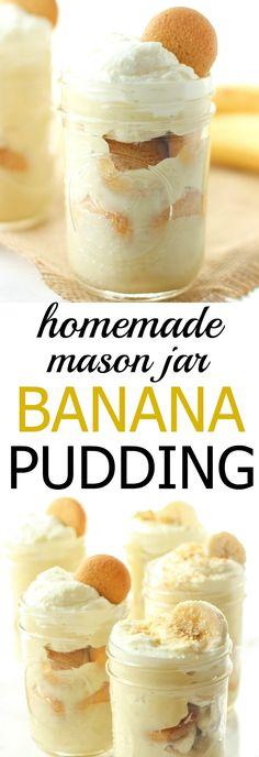 This mason jar banana pudding is homemade and has all real ingredients! This mason jar banana pudding is homemade and has all real ingredients! Mini Desserts, Mason Jar Desserts, Mason Jar Meals, Meals In A Jar, Mason Jar Diy, Mason Jar Cakes, Mason Jar Recipes, Mason Jar Drinks, Mason Jar Smoothie