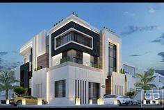 Modern villa in kuwait ( abo ftera ) . on Behance Modern Villa Design, Modern Exterior House Designs, Exterior Design, Architecture Design, Modern Architecture House, Southern House Plans, Bungalow House Design, House Front Design, Modern House Facades
