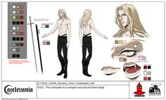 """Adrian """"Alucard"""" Ţepeş is one of the main protagonists in the Netflix original series, Castlevania. He is the son of Vlad """"Dracula"""" Ţepeş and the late Lisa Ţepeş. Alucard Castlevania, Castlevania Netflix, Castlevania Lord Of Shadow, Character Sheet, Character Concept, Character Art, Concept Art, Character Ideas, Alucard Cosplay"""