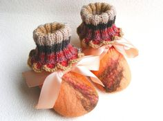 Felted baby slippers knitted felt booties baby home by NatkaLV, $29.00