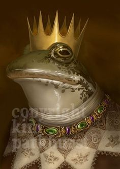 Fairy Tale Frog Prince Portrait Toad Signed Print by toadbriar Frog Illustration, Botanical Illustration, Frog Princess, Frog Art, Frog And Toad, Sign Printing, Amphibians, Reptiles, Pet Portraits