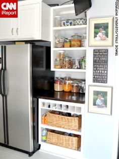 Tracie Stoll's pantry uses open shelves to turn staples into decor.