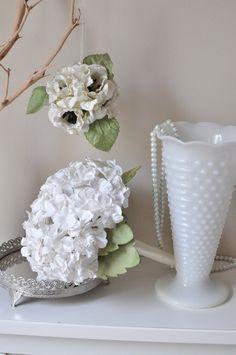 Handmade, paper flowers, paper hydrangea 100 FLORET bouquet, white, cream, Ivory, butter cream. $45.00, via Etsy.