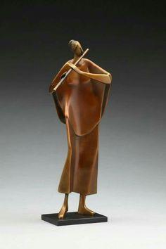 ''Flutist''.  Carol Gold... @ivannairem .. https://tr.pinterest.com/ivannairem/sculptures/