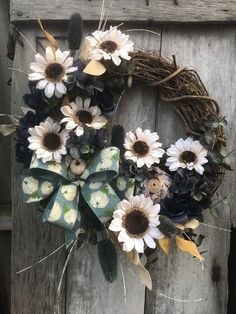 Excited to share this item from my #etsy shop: Ivory Sunflower Fall wreath for front door Autumn Pumpkin Floral Grapevine Wreath for Door, Friends wreath for front door, pumpkin wreath,