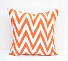 Zigzag Chevron Orange Throw ikat pillow cover
