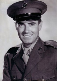 Tyrone Power, Lieut., U.S. Marine Corps, WW II. He was an established movie star when Pearl Harbor was bombed. Nevertheless he joined the Marines, became a pilot and flew supplies into, and wounded Marines out of, Iwo Jima and Okinawa. He returned to the states in Nov 1945 and was released from active duty in Jan 1946. He was promoted to captain in the reserves on May 8, 1951.