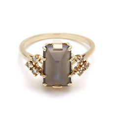 Bea Arrow Ring - Grey Moonstone & Champagne Diamonds – Anna Sheffield