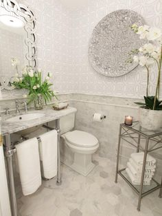 Bring on the Marble in Luxurious Bathroom Makeovers From Our Stars from HGTV