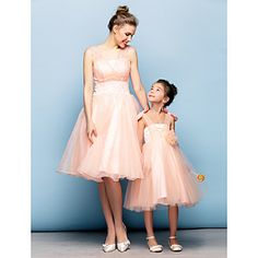 Mini Me Dress Ball Gown Straps Knee-length Organza And Tulle Cocktail Dress – USD $ 129.99