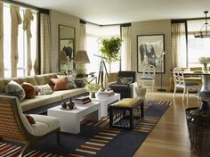 Tips and Ideas for Decorating Living Room Design: Living Room Design With Coffee Table Also Living Room Rugs And Wood Flooring With Chandelier Also Floor Lamp And Side Table Plus Indoor Plants For Eclectic Living Room Eclectic Living Room, Narrow Rooms, Room Design, Home Decor, Long Living Room, House Interior, Home Interior Design, Home Decor Catalogs, Rugs In Living Room