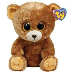 "Ty Beanie Boo's Baby Teddy Bear Yellow Eyes ""Honey"" Brown Stuffed Animal Toy 