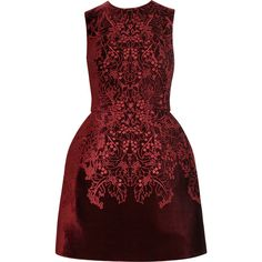 McQ Alexander McQueen The broderie anglaise velvet bell dress (130.985 RUB) ❤ liked on Polyvore featuring dresses, vestidos, short dresses, vestiti, red cocktail dress, short full skirt dress, red dress and velvet mini dress