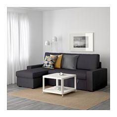 IKEA - VILASUND, Sofá cama con chaiselongue, Dansbo beige,  , , Los muelles embolsados se amoldan al contorno corporal y mantienen la columna alineada mientras duermes.Un colchón firme que te ofrece un buen soporte y se puede utlizar todas las noches.Puedes situar la sección de chaiselongue a la derecha o a la izquierda del sofá y cambiarla cuando quieras.Espacio de almacenaje bajo la chaiselongue. La tapa se mantiene abierta para que puedas meter y sacar cosas de forma segura y cómoda.La…