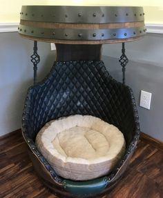 Wine Barrel Dog Bed, Custom Wood, Rustic, Traditional, Contemporary, Home Decor, Country Primitive, Farmhouse Style, Interior Design