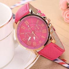 Geneva Watch Women Watches Reloj Mujer Dropship 2017 Casual Roman Numerals PU Leather Mechanical Clock