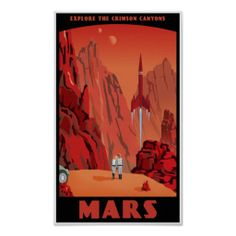 "Reader and science fiction fan CQ alerted me to these fantastic ""retro-futuristic"" travel posters by Steve Thomas. Art And Illustration, Illustrations Posters, Pin Up Retro, Retro Style, Steve Thomas, Thomas Mars, Plakat Design, Retro Poster, Poster Poster"