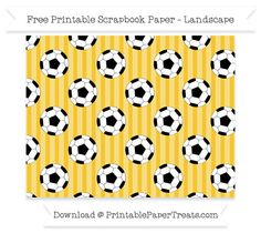 Landscape Saffron Yellow Striped Large  Soccer Ball Pattern Paper