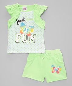 Real Love Green Fun Layered Tee & Shorts - Infant, Toddler & Girls | zulily Infant Toddler, Toddler Girls, Baby Girls, Girls Tennis Skirt, Cotton Tee, Summer Fun, Girl Outfits, Babies Clothes, Baby Style