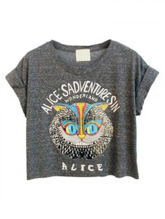 Gray Owl and Letter Print Crop Tee