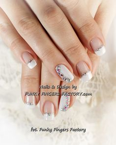 Gelish Wedding nails with Swarovski crystals by funkyfingersfactory.com