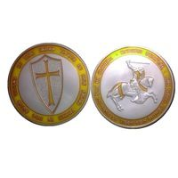 1OZ Freemasons Templars Knights Yellow Cross Color Coin,Silver plated Knight Templar Coins