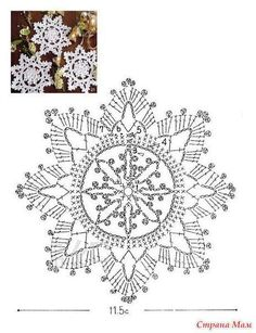 I love snowflakes. I love to crochet them and to decorate with them. We use them as Christmas tree ornaments and on hanging wreath. Every year I'm asked to share crochet snowflakes diagrams& Crochet Snowflake Pattern, Crochet Motifs, Crochet Stars, Crochet Snowflakes, Crochet Diagram, Doily Patterns, Thread Crochet, Filet Crochet, Irish Crochet