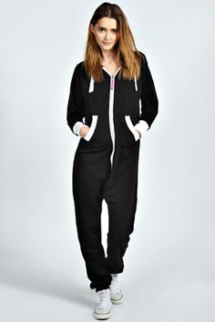 Cara Contrast Trim Fleece Lined Hooded Onesie at boohoo.com   Onesie