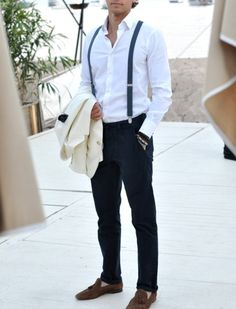 Polka-dot suspenders! Tassel Loafers! WHITE JACKET!