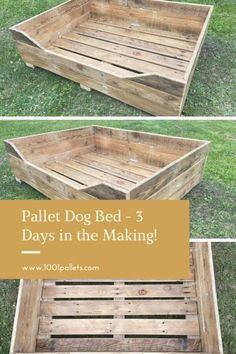 Pallet Dog Beds, Wood Dog Bed, Pallet Dog House, Making Pallet Furniture, Dog Furniture, Furniture Ideas, Big Dog Beds, Garden Animals, 1001 Pallets